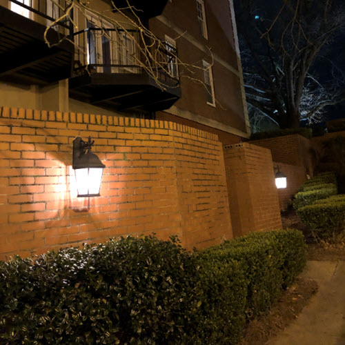 Outside Lanterns Using High-Efficiency LEDs at Crestwood